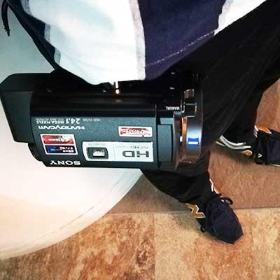 カメラ 腰ベルト ホルダを装着したときの写真