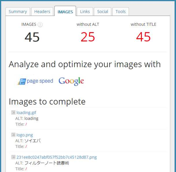 SEO META in 1 CLICKのImagesタブ